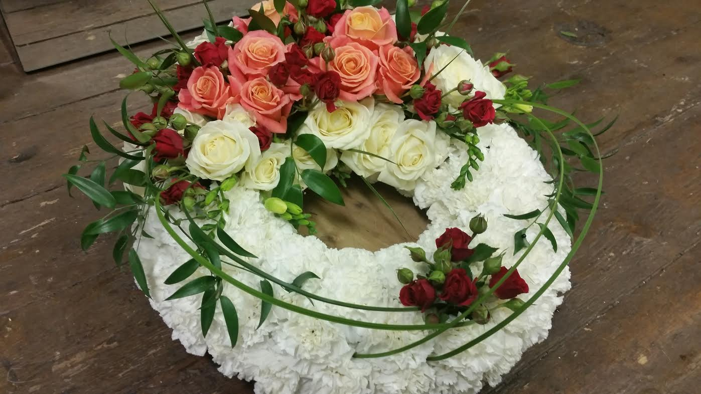 Funeral Arrangement - Medium cottage funeral wreath 18inch