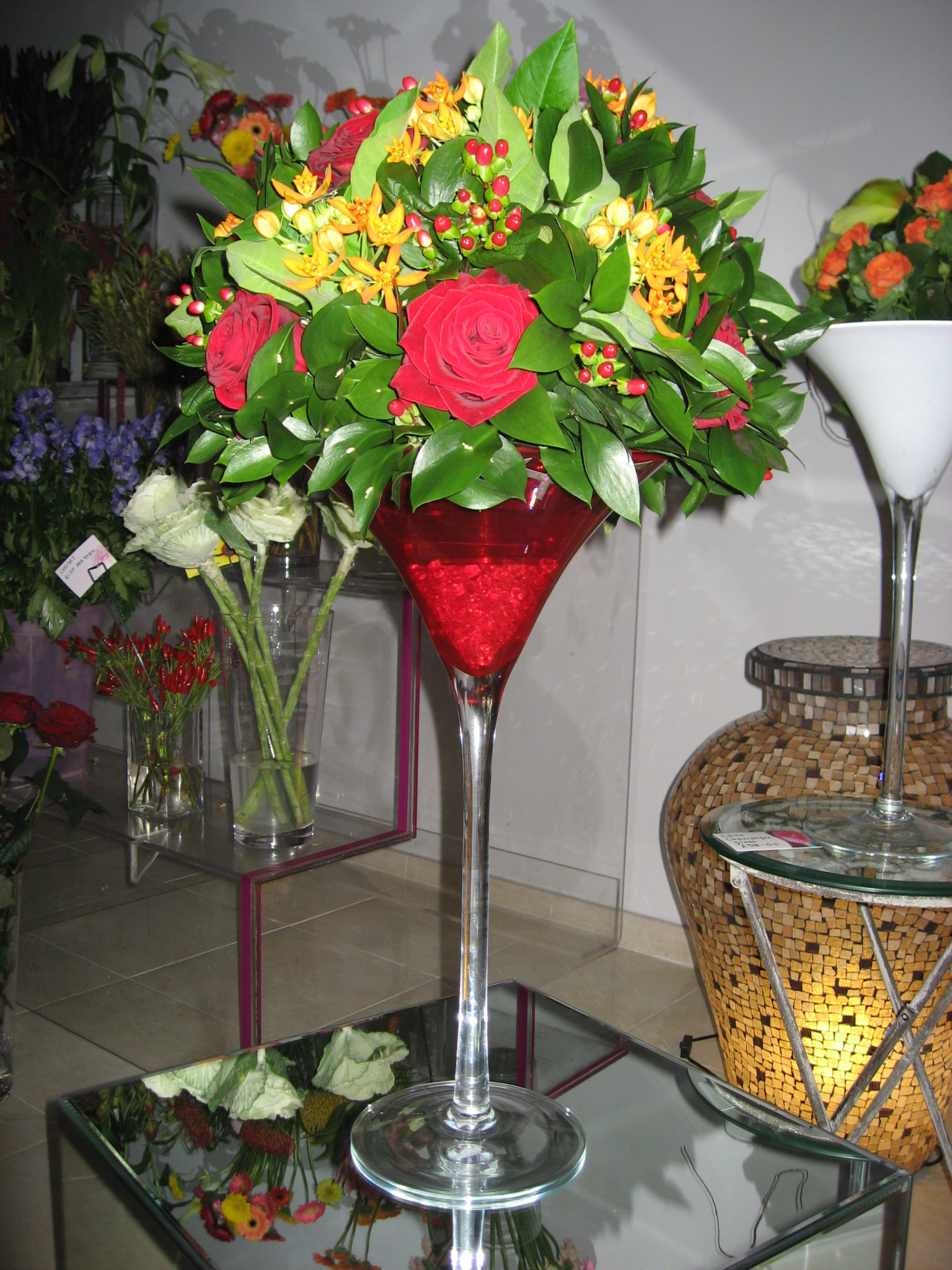 Red Martini Vase Wedding